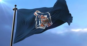 Flag of the team of the Detroit Tigers, american baseball team - loop. Flag of the team of the Detroit Tigers, american professional baseball team, waving at stock footage