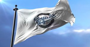 Flag of the team of the Kansas City Royals, american baseball team - loop. Flag of the team of the Kansas City Royals, american professional baseball team stock video