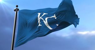 Flag of the team of Kansas City Royals, american professional baseball - loop. Flag of the team of the Kansas City Royals, american professional baseball team stock video