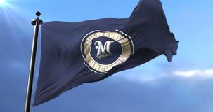 Flag of the team of the Milwaukee Brewers, american professional baseball - loop. Flag of the team of the Milwaukee Brewers, american professional baseball team stock video