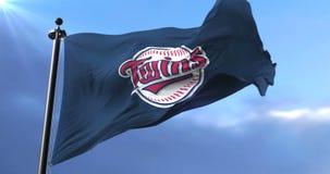 Flag of the team of Minnesota Twins, american professional baseball - loop. Flag of the team of the Minnesota Twins, american professional baseball team, waving stock footage