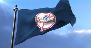 Flag of the team of the New York Yankees, american professional baseball - loop. Flag of the team of the New York Yankees, american professional baseball team stock video footage