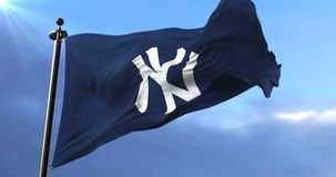 Flag of the team of New York Yankees, american professional baseball - loop. Flag of the team of the New York Yankees, american professional baseball team stock video footage