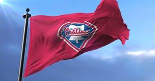 Flag of the team of Philadelphia Phillies, american professional baseball - loop. Flag of the team of the Philadelphia Phillies, american professional baseball stock video footage
