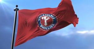 Flag of the team Philadelphia Phillies, american professional baseball - loop. Flag of the team of the Philadelphia Phillies, american professional baseball team stock video