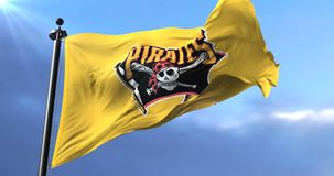 Flag of the team of Pittsburgh Pirates, american professional baseball - loop. Flag of the team of the Pittsburgh Pirates, american professional baseball team stock video