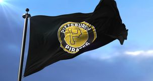 Pittsburgh Pirates team flag, american professional baseball team, waving - loop. Flag of the team of the Pittsburgh Pirates, american professional baseball team stock footage
