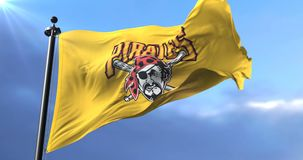 Flag of the team of Pittsburgh Pirates, american professional baseball - loop. Flag of the team of the Pittsburgh Pirates, american professional baseball team stock video footage