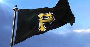 Flag of the team Pittsburgh Pirates, american professional baseball team - loop. Flag of the team of the Pittsburgh Pirates, american professional baseball team stock video footage
