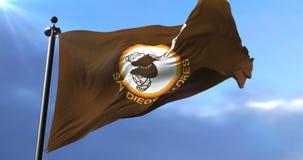 Flag of San Diego Padres, american professional baseball team, waving - loop. Flag of the team of the San Diego Padres, american professional baseball team stock video footage