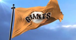 Flag of the team San Francisco Giants, american professional baseball - loop. Flag of the team of San Francisco Giants, american professional baseball team stock video