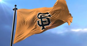 Flag of the team San Francisco Giants, american professional baseball - loop. Flag of the team of San Francisco Giants, american professional baseball team stock footage