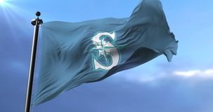Flag of the team of Seattle Mariners, american professional baseball - loop. Flag of the team of the Seattle Mariners, american professional baseball team stock footage