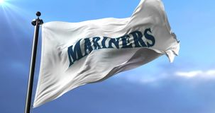 Flag of the team Seattle Mariners, american professional baseball, waving - loop. Flag of the team of the Seattle Mariners, american professional baseball team stock video footage