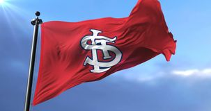 Flag of the team St. Louis Cardinals, american professional baseball - loop. Flag of the team of Saint Louis Cardinals, american professional baseball team stock video