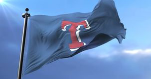 Flag of the Texas Rangers, american professional baseball team, waving - loop. Flag of the team of Texas Rangers, american professional baseball team, waving at stock video