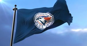 Flag of the team of Toronto Blue Jays, american professional baseball - loop. Flag of the team of Toronto Blue Jays, american professional baseball team, waving stock video footage