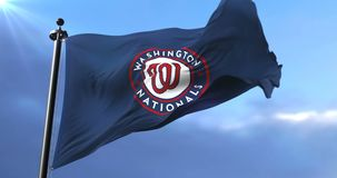 Flag of Washington Nationals, american professional baseball team, waving - loop. Flag of the team of Washington Nationals, american professional baseball team stock footage