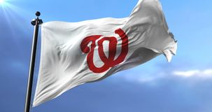 Flag of the team Washington Nationals, american professional baseball - loop. Flag of the team of Washington Nationals, american professional baseball team stock footage