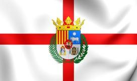 Flag of Teruel Province & x28;Aragon& x29;, Spain. 3D Flag of Teruel Province & x28;Aragon& x29;, Spain. Close Up Royalty Free Stock Photos