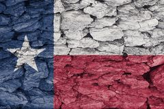 Flag of Texas texture. Texture of Texas Flag on a decorative tree bark stock image