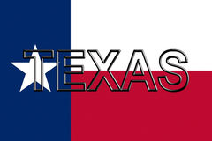 Flag of Texas Word. Illustration of the flag of Texas state in America  with the state written on the flag Royalty Free Stock Photos