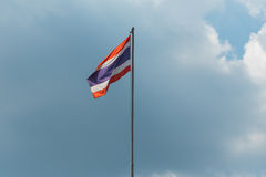 Flag of Thailand. With cloudy sky in background stock image