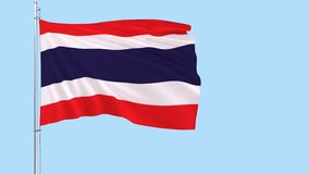 Flag of Thailand on a flagpole fluttering in the wind on a transparent blue background, 3d rendering, PNG format with ALPHA transp stock video