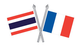 Flag of Thailand and France. Cross flagof Thailand and France Royalty Free Stock Images