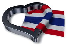 Flag of thailand and heart Royalty Free Stock Images