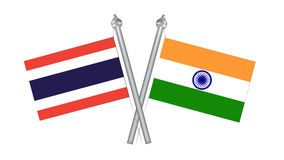 Flag of Thailand and India. Cross flag for International relatio Royalty Free Stock Images