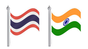 Flag of Thailand and India. Flying flag for International relati Stock Photography