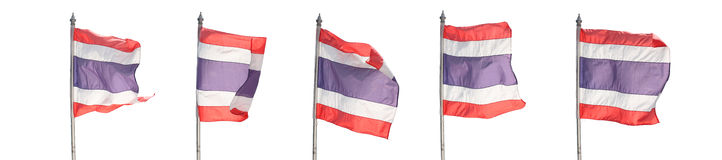 Flag of Thailand isolated on white. Royalty Free Stock Photo