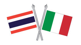 Flag of Thailand and Italy. Cross flag for International relatio Stock Photos