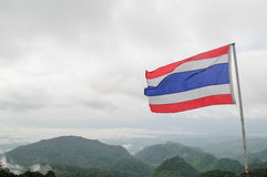 Flag of Thailand. With mountain background Stock Photography