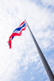 Flag of Thailand toward the sky. Waving by the wind blow stock photos