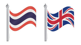 Flag of Thailand and United Kingdom. Abstract Flying flag for In Royalty Free Stock Images