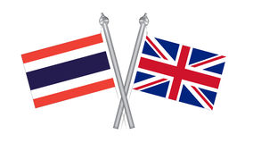 Flag of Thailand and United Kingdom. Cross flag for Internationa Royalty Free Stock Image