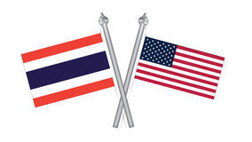 Flag of Thailand and United States America. Cross flag for Inter Stock Image