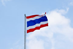 Flag of Thailand waving with blue sky. Blue sky and flag Royalty Free Stock Photo