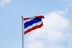 Flag of Thailand waving with blue sky. Flag, light, sign, sky, sun sunny swing wave wind thailand blow blue cloud continent country day Stock Image
