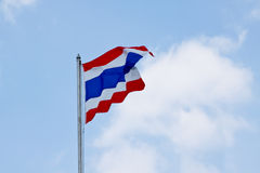 Flag of Thailand waving with blue sky. Flag, light, sign, sky, sun sunny swing wave wind thailand blow blue cloud continent country day Royalty Free Stock Photo