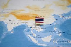 The Flag of thailand in the world map.  stock photography