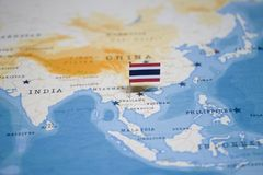 The Flag of thailand in the world map.  royalty free stock photos