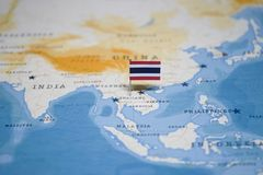The Flag of thailand in the world map royalty free stock images