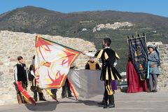 Flag throwing show Royalty Free Stock Image