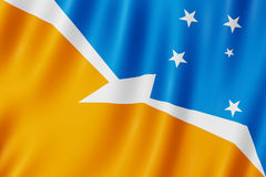 Flag of Tierra del Fuego Province, Argentina. Waving Flag of Tierra del Fuego Province, Argentina Royalty Free Stock Photo