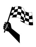 Flag to start, finish racing in the hand Royalty Free Stock Photos