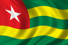 Flag of Togo. Waving in the wind Stock Photos