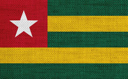 Flag of Togo on old linen Royalty Free Stock Image